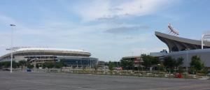 Kauffman Stadium on the left and Arrowhead Stadium on the right.