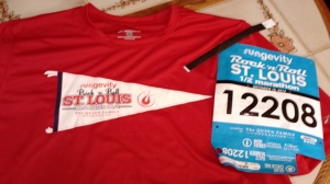 1/2 mary t-shirt & bib.  The black band is worn during the 1/2 so, after the run we go to a special tent to pick up our Extra Spinning Guitar pick medal for running Sat & Sun :)