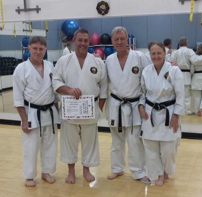 From left to right - Sensei Bob Seibert (7th Dan), myself, Sensei Xian (8th Dan), Marty (5th Dan)