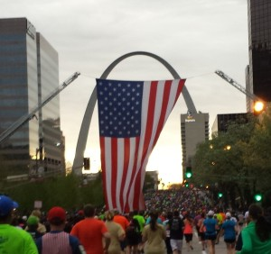 During the first mile this giant flag was hanging a little too low, and unless you were 4 ft tall or less, you were bound to run into it.