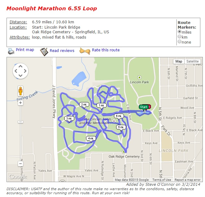 USATF Moonight Marathon Route